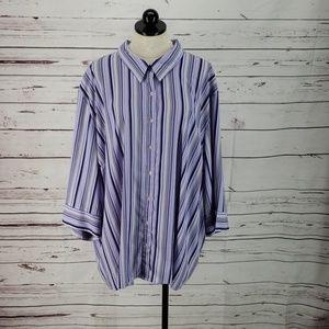 Maggie Barnes Purple Stripe Button Up Shirt
